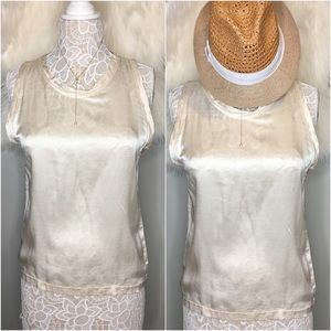 YSL Silk Sheer Ivory Shiny Tank Blouse M Italy